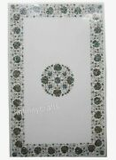 Abalone Shells Inlaid Coffee Table Top Marble White Bar Table 36 X 60 Inches