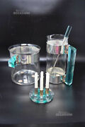 Set Carafe+bucket + Ladle + Candles, Glass, Silver And Plast. Blue