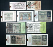 Germany - Set Of 9 Hyperinflation Reichmarks Mark Notes Stamped 1920-1923 Vg-xf