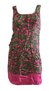 Marc Jacobs Pink Green Retro 60and039s 70and039s Print Silk Dress Uk 8 Us 4 It 40 Bnwt
