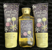 Lot Of 3 - Bath And Body Works Confetti Cake Pop Body Cream And Shower Gel Disc.