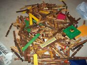 Vintage Lincoln Logs Frontier Fort Real Wooden Logs Set 450 Pieces + 20 Figures