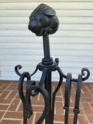 """Wrought Iron Fireplace Tool Set Twisted Unique Bee Bug Design Heavy 35"""""""