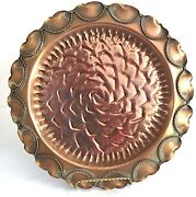 Gregorian Solid Copper Embossed Rose Flower Wall Plate Scalloped Edge 9 1/2 D