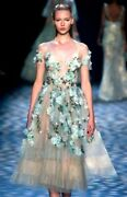 Marchesa Couture Embroidered Applique Cocktail Party Midi 2016 Runway Dress Us 6