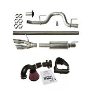 Roush Cat Back Side Exit Exhaust W/cold Air Intake System Kit For 11-14 F-150 5l