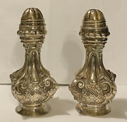 Vintage Hazorfim Signed Hzm Repoussé Sterling Silver Salt And Pepper Shakers 158g