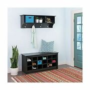 Prepac Hanging Entryway Shelf With Shoe Cubby Bench - Black