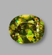 12x10 Mm 4.39 Ct Natural Unheated Lime Green Sphene From Zimbabwe Have Video