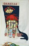 Vintage Strictly Christmas Partial Hand Finished Metallic Needlepoint Stocking