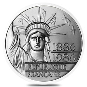 1986 France 100 Francs Statue Of Liberty Silver Coin .868 Oz