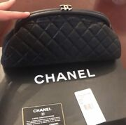 Classic Cc Logo Black Caviar Quilted Leather Timeless Clutch Bag