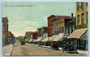 Postcard Il Dixon Illinois First Street West View 1911 Stores Cars Trolley F29