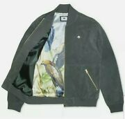Lifted Research Group Lrg Green Suede Leather Bomber Jacket Mens Xxlarge Nwt225