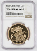 Great Britain 2003 5 Pound 1.177 Oz Agw Gold Proof Coin Ngc Pf70 Ultra Cameo Uk