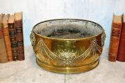 Antique French Brass Lion Heads Planter Large Jardiniere Embossed Floral Design