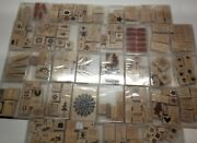 Stampin Up Lot Of 37 Sets Wooden Rubber Stamps Mostly Unused Some Discontinued