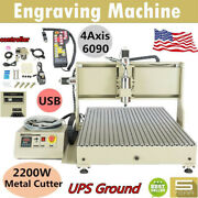 Usb 2.2kw Cnc 6090z Router 4 Axis Engraver Wood Drill/mill Machine+controller Ce