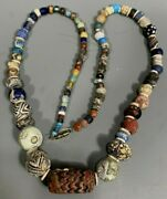Very Fine Rare Roman Glass Variegated Bead Necklace Ca. 100-200 Ad