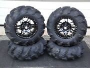 King Quad 450 27 Mega Mayhem Atv Tire And 14 Hd7 Smoke Atv Wheel Kit Irs1ca