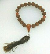 Ec. Antique Chinese Carved Hediao Nut Pit Seed And Stone Prayer Beads Bracelet 11