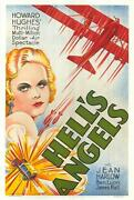 Helland039s Angels Vintage Movie Poster Fine Art Lithograph Jean Harlow S2