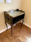 🐝 La Mart Black + Gold Italian Vintage Marquetry Side Accent Table
