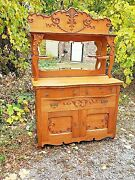 Victorian Antique Oak Ornate Sideboard Buffet Breakfront Cabinet And Mirrored Back
