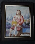 Listed Paul Meltsner 20x24 City Rooftop Madonna Gouache / Watercolor –circa 1950