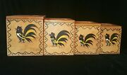 6 Pc Vintage Wood Rooster Salt And Pepper And Canisters Set Woodpecker Woodenware