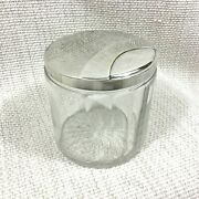 Antique Christofle Vanity Jar Pot French Art Deco Silver Plate Glass Crystal