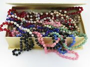 Lot Of 27 Vintage Satin Silk Thread Wrapped Bead Necklaces In Various Colors