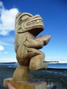 Northwest First Nations Native Art Carved Dancing Bear Sculpture By Doug Horne