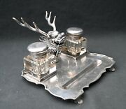Antique 19th Century Chinese Solid Silver Bureauset, Inkwell