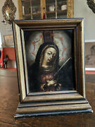 19th Century Framed Oil On Tin Mexican Or Spanish Icon Painting Double Sided