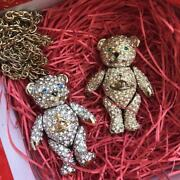 Set Of 2 Vivienne Westwood Vintage Necklace And Brooch Bear Green Blue Eyes W/box