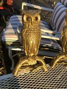 Andirons Vintage Owl Cast Brass Glass Eyes Fireplace Great Horned Owl Rostand Co