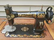 Antique White Rotary Treadle Sewing Machine From Early 1900 W/attachments Works