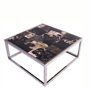 Square Sliced Petrified Wood Top Coffee Table