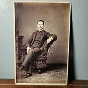 1880s Cabinet Card Photo Of Handsome Man In Plaid Suit From Greenville Pa