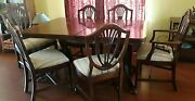 Duncan Phyfe Dining Set W/6 Chairs 2 End Chairs Have Arms + 2 Extra Inserts