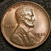 1936 D Lincoln Wheat Cent Penny 1c Uncirculated Bu+extra Fine Toned Coin P2258