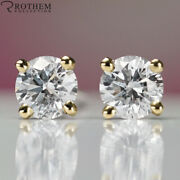 5350 Solitaire Diamond Stud Earrings 1.54 Ct Yellow Gold I1 Studs 35452235
