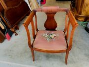 Beautiful Antique English Victorian Mahogany Needlepoint Parlor Club Arm Chair