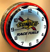 19 Sunoco Race Fuels Sign Gas Oil Double Red Neon Clock Chrome Finish Racing