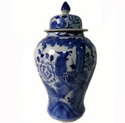 Blue And White Chinese Porcelain Ginger Jar With Birds And Flowers