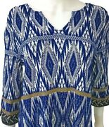 New W/tag 800. St. John Knit Top. Size Small. Blue/multi. 3/4 Sleeves