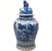 35 Inch Tall Grand Blue And White Porcelain Ginger Jar With Foo Dog Lid