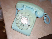 Vtg Working Bell System Western Electric Blue Rotary Dial 500 Desk Phone