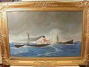 Antique Watercolor Maritime Painting Of The Ss Dunsley Wwi